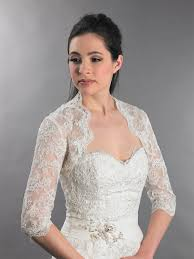 3 4 Sleeve Bridal Lace Wedding Bolero Jacket Lace_080