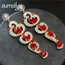 chandelier crystal long earrings for women black blue red gold color rhinestone hanging earrings bridal wedding jewelry