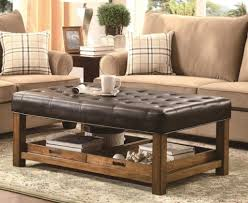 rustic leather ottoman coffee table