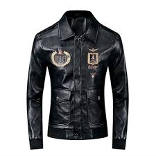 Discount Designer Mens Leather Jackets 2019 2019 New Fashion Mens Designer Leather Punk Style Jackets Flying Jacket Badge Embroidery Letter Coat Lapel Neck Pu Jacket Size M 3xl From Lys003