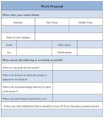 Work Proposal Form Sample Forms