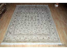 sold out 8 x 10 wool and silk white background persian tabriz design rug