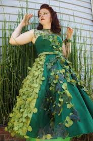 woman wearing poison ivy dress
