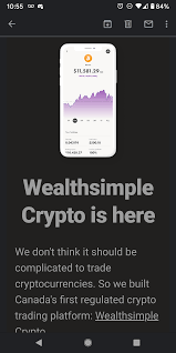 But you can buy an etf that invests in bitcoin in these accounts! Just Got This Notification That Wealth Simple Is Now Allowing Regular Canadians To Easily Trade Crypto Cryptocurrency
