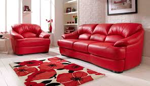 wonderful modern living room with crimson red leather sofa white wooden floor and several white colored wooden shelf