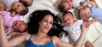 Girl with 8 babies