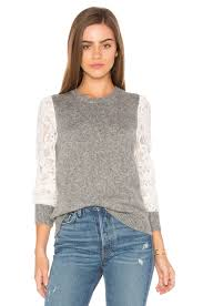 rebecca taylor lace sleeve pullover silver chalk womens rebecca taylor tops reliable quality
