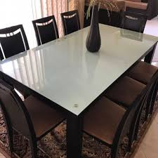 solid wooden rectangular dining set with blue tinted glass top table 8 chairs home furniture furniture on carou