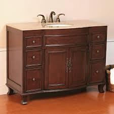 single bathroom vanities ideas. Furniture. Brown Wooden Bathroom Vanity Having Glossy Top And Round White Sink Also Short Single Vanities Ideas