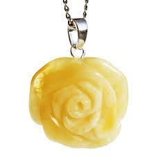 white amber rose pendant