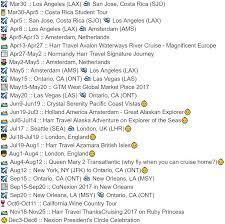 Travel Schedule Dannys 2017 Travel Schedule Harrtravel Com