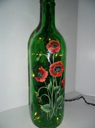 Decorative Wine Bottles With Lights Poppy Lighted Wine Bottle Hand Painted 100 ml I love light Flickr 97