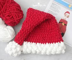 Santa Hat Pattern Amazing Crochet Santa Hat With Bernat Blanket Yarn Repeat Crafter Me