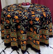 unique handmade 100 cotton french fl tablecloth 90 inch round black amber