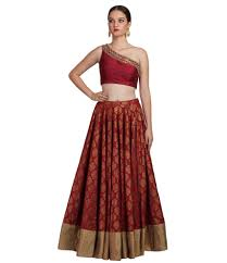 Designer Crop Top And Skirt Mehroon And Gold Embroidered Crop Tops With Long Skirts