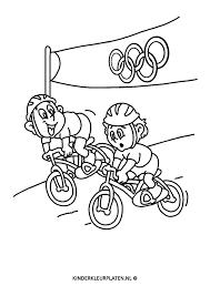 Kleurplaat Olympische Spelen Fietsen Sport
