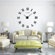 fas1 modern diy large wall clock big watch decal 3d stickers roman numerals wall