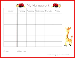 Free Printable Reward Charts For Teachers Homework Chart Middle
