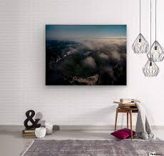 low clouds over race track wood print