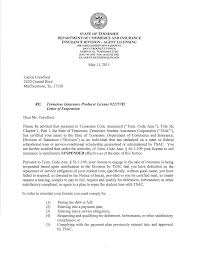 RE: Tennessee Insurance Producer License #2275782 Letter of Suspension