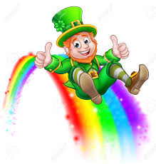 St Patricks Day Leprechaun Sliding On Rainbow Stock Photo, Picture And  Royalty Free Image. Image 93745839.