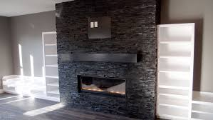 oriental black slate ledgestone tiled fireplace