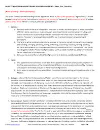Recording Contract Template Composition And Recording Service Contract Template 15
