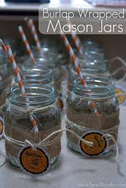 Decorating With Mason Jars And Burlap title Burlap Wrapped Mason Jars Sew Woodsy 43