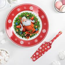 <b>Тортовница</b> с <b>лопаткой</b> Доляна «Дед Мороз», d=27 см (1113420 ...