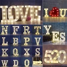 Light Up Letter Led Lamp Alphabet Plastic Party Sign Wedding
