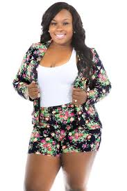 plus size short sets long sleeves blazer floral plus size short set fashionxoxo shop