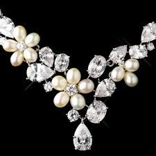 Antique Silver Cz Pearl Wedding Jewelry Set Elegant Bridal