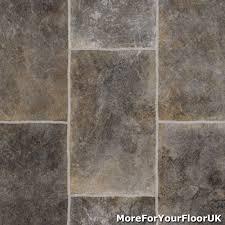 Cushion Floor Vinyl Kitchen Flooring Grey Rectangle Tile Vinyl Flooring Slip Resistant Lino 3m