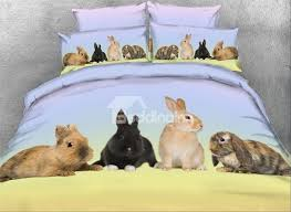 69 onlwe 3d rabbit family printed 4 piece animal bedding sets duvet covers