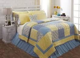 blue and yellow bedding. Perfect And Image Is Loading CALEDON4PCKINGQUILTBEDDINGSETPATCHWORK For Blue And Yellow Bedding Y