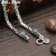 zhjiashun 925 sterling silver heavy chain necklace for men male vintage thai silver dragon necklaces mens jewelry ysn003 uk 2019 from xiajishi