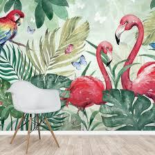 tropical flamingo wall mural by di