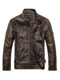men leather jacket spring jacket stand collar long sleeve zip up motorcycle jacket no