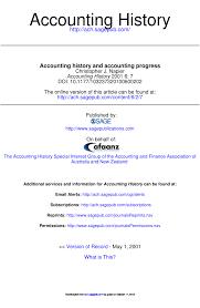 Pdf Accounting History And Accounting Progress