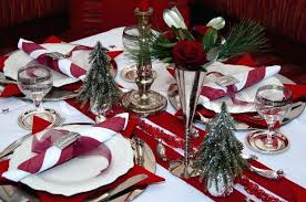 red and silver table decorations. Red Table Decorations With Decoration Napkins Roses Silver Tree And Candles Stock Photo A