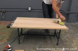 homemade modern diy ep68 pipe coffee table step 16