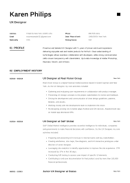 resume ux designer ux designer resume example template sample cv formal