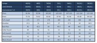 Mens Jacket Size Chart Size Chart