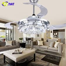 FUMAT LED Ceiling Fans Crystal Light Dining Room Living Room Fan