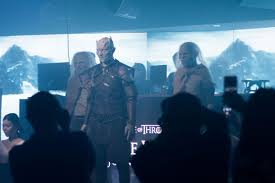 but the highlight of the night was when the night king and his army of white walkers invaded the e without prior warning marching down the walkway from