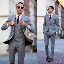 Light Grey Suit With Burgundy Tie Grey Suit With Texture And Ox Blood Shoes Grey Suit Men