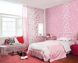 cute bedroom ideas for light pink wall round red ottoman brown wooden laminate flooring pink fabric
