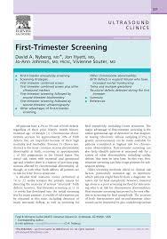 Pdf First Trimester Screening