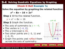 11 9 4 solving quadratic equations by graphing check it out example 1a solve the equation by graphing