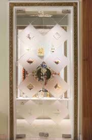 frosted glass pooja room door without